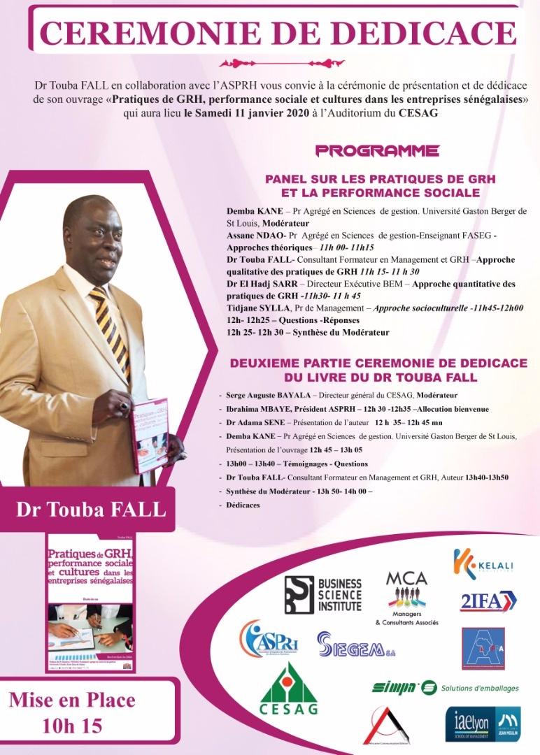 Cérémonie de dédicace du livre du Dr Touba FALL.